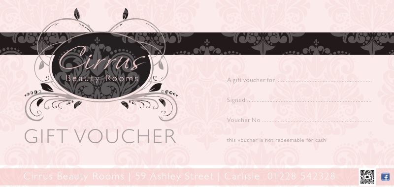Buy Cirrus Beauty Gift Vouchers online for our Carlisle Beauty Salon